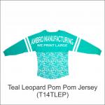 Pom Pom Jersey Teal Leopard